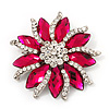 Magenta/Clear Diamante Floral Corsage Brooch In Silver Metal - 5.5cm Diameter