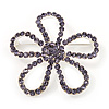 Amethyst Crystal Open Flower Brooch In Silver Finish - 4.5cm Diameter