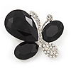 Black/Clear Diamante Asymmetrical 'Butterfly' Brooch In Silver Finish - 4cm Length