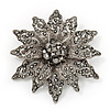 Victorian Style Black Diamante Flower Corsage Brooch In Gun Metal - 6.5cm Diameter