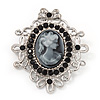 Silver Tone Black Diamante Filigree &#039;Cameo&#039; Brooch - 5.5cm Length