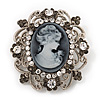 Silver Tone Clear/ Dim Grey Diamante 'Cameo' Brooch - 4.5cm Length