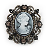 Gun Metal Black/Grey Diamante 'Cameo' Brooch - 4.5cm Length