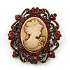 Antique Gold Amber Coloured Diamante 'Cameo' Brooch - 4.5cm Length