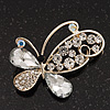 Asymmetrical Clear Diamante Butterfly Brooch In Gold Finish - 5cm Length