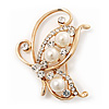 Delicate Simulated Pearl/Diamante 'Flying Butterfly' Brooch In Gold Plating - 4.5cm Length