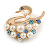 White Faux Pearl Diamante 'Swan' Brooch In Gold Plated Metal - 4cm Length