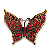Large Red Crystal 'Butterfly' Brooch In Burn Gold Finish - 7.5cm Length