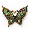 Large Emerald/Grass Green Crystal 'Butterfly' Brooch In Burn Gold Finish - 7.5cm Length