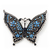 Large Blue Crystal 'Butterfly' Brooch In Burn Silver Finish - 7.5cm Length