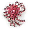 Pink Crystal 'Bow' Brooch In Silver Plating - 5.5cm Length