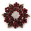 Burgundy Red Crystal Wreath Brooch In Antique Gold Metal - 4cm Diameter