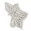 Large White Faux Pearl Diamante 'Butterfly' Brooch In Silver Plating - 8.5cm Length