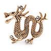 Gold Plated 'Dragon' Brooch - 4.3cm Length