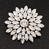 Clear Cz Flower Corsage Brooch In Silver Tone Metal - 5.5cm Diameter