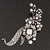 Oversized Antique Silver Clear Diamante Grandma's Treasure Brooch - 11cm Length