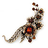 Oversized Antique Gold Clear/ Amber Coloured Diamante Grandma's Treasure Brooch - 11cm Length