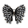 Ash Grey Faux Pearl Butterfly Brooch In Gun Metal Finish - 5cm Length