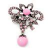 Light Pink Diamante Precious Heirloom Charm Brooch (Burn Silver Tone)