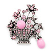 Vintage Pink Diamante Flower Basket Brooch (Burn Silver Finish)