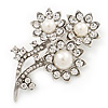 Clear Crystal Imitation Pearl 'Sunflower' Brooch In Silver Plating - 7cm Length