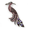 Oversized Purple Crystal Peacock Brooch In Gun Metal Finish - 11cm Length