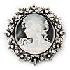 Vintage Round Swarovski Crystal Cameo Brooch In Silver Plating - 6cm Diameter