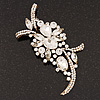Large 'Hollywood Style' Clear Swarovski Crystal Corsage Brooch In Antique Gold Plating - 12cm Length