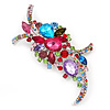 Large 'Hollywood Style' Multicoloured Swarovski Crystal Corsage Brooch In Silver Plating - 12cm Length