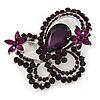Large Deep Purple Crystal 'Butterfly' Brooch In Rhodium Plating - 8cm Length