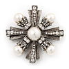 Vintage Burn Silver Diamante 'Cross' Brooch - 6cm Diameter