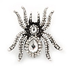Large Clear Crystal Spider Brooch In Antique Silver Finish - 6cm Length