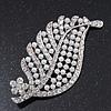 Large Simulated Pearl/Diamante 'Leaf' Brooch In Silver Tone Metal - 8.5cm Length