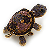 Amethyst/ Deep Purple Swarovski Crystal &#039;Turtle&#039; Brooch In Gold Metal - 5.5cm Length