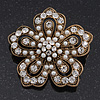 Vintage Filigree Pearl/ Diamante 'Flower' Brooch In Antique Gold Metal - 5cm Diameter