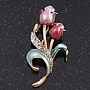 Pink Enamel Diamante 'Tulip' Brooch In Gold Finish - 5cm Length
