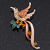 Exotic Orange/Peach Diamante &#039;Bird&#039; Brooch In Gold Finish - 6.5cm Length