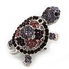 Amethyst/ Deep Purple Swarovski Crystal 'Turtle' Brooch In Silver Plated Metal - 5.5cm Length