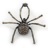 Giant Dim Grey Crystal Spider Brooch In Gun Metal Finish - 7cm Length