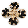 Vintage Black Jewelled Clear Crystal 'Cross' Brooch In Gold Plating - 6.5cm Length