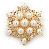 Delicate Simulated Pearl/Crystal Floral Brooch In Gold Plating - 5cm Diameter