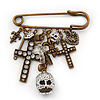 'Crosses, Hearts & Skulls' Charm Safety Pin Brooch In Bronze Finish Metal -