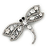 Gigantic Clear Glass Crystal 'Dragonfly' Brooch In Gun Metal - 11cm Length