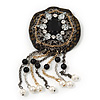 Hand-made Snakeskin Gem Embellished Dangle Brooch - 12cm length