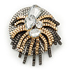 Stunning Clear Crystal 'Star' Brooch In Silver/Gold/Gun Metal - 5.5cm Diameter