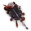 Purple/Lavender Floral Glass/Acrylic Bead Charm Brooch - 9.5cm Length