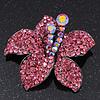 Stunning Fuchsia Pink Diamante Flower Brooch In Gun Metal Finish - 5cm Diameter