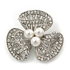 Fancy Diamante Simulated Pearl Brooch In Silver Plating - 4cm Diameter