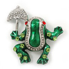 Funky Green Enamel Frog With Crystal Umbrella Brooch In Silver Plating - 5cm Length