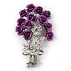 Violet 'Bunch Of Roses' Diamante Brooch In Silver Plating - 6.5cm Length